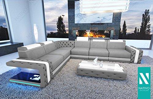 Wohnlandschaft IMPERIAL CORNER Ledermix mit LED Beleuchtung NATIVO© Ecksofa Couch Sitzecke
