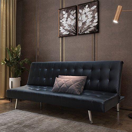 Style home Schlafsofa Couch Bett Kunstleder Holzgestell Edelstahlfüße HSP01-Sch Sofa, Schaumstoff, Schwarz, 180 x 108 x 37 cm
