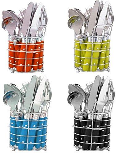 24-teiliges Besteckset Edelstahl mit Ständer-Besteckkorb Besteck für 6 Personen Menü-besteck Color-Besteck mit Kunststoffgriffen geliefert wird in Geschenk-Dose