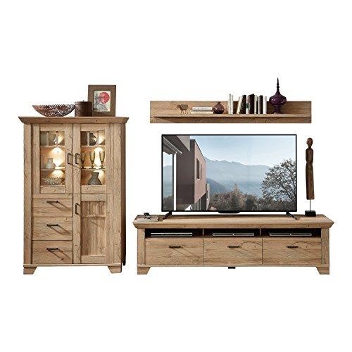 Stella Trading BLHHC81080 TV-/Wohnlösung 3-Teilig, Holzdekor, Gran Oak Hell, 51 x 326 x 181 cm