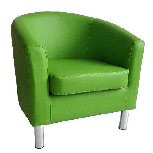 Moderner Tub Stuhl Sessel Kunstleder mit Chrom Beinen Home Esstisch Wohnzimmer Lounge Office Empfang grün