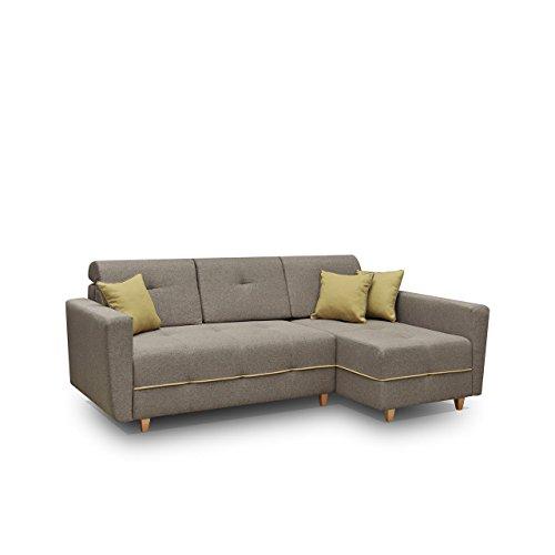Mirjan24  Ecksofa Eckcouch Grey! Sofa Couch mit Bettkasten und Schlaffunktion, Hochelastischer Schaumstoff HR, Funktionssofa L-Form Schlafsofa Bettsofa (Ecksofa Rechts, Enzo 156 + Enzo 153)