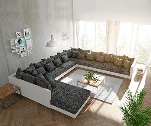 Couch Clovis modular - Ecksofa, Sofa, Wohnlandschaft & Modulsofa (Schwarz/Weiss, Sofa XXL Rechts mit Hocker)
