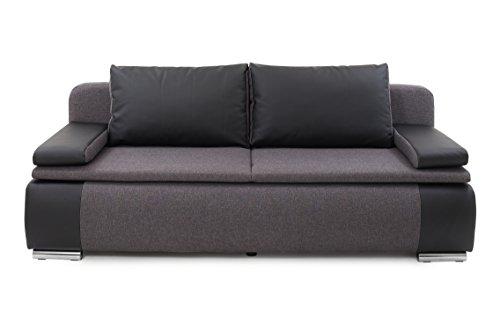 B-famous LINA Sofa Moderner Dauerschläfer Schlafsofa, Stoff, schwarz/grau, 87 x 201 x 88 cm