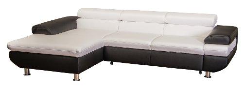 Cavadore 5011 Polsterecke Caponelle Longchair mit Kopfteilverstellung, 3-er Bett mit Kopfteilverstellung, 279 x 72 - 88 x 177 cm, Kunstleder Bison, pure weiß / schwarz