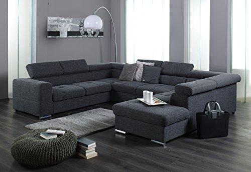 """XXL Wohnlandschaft, Couch """"CARY"""", U-Form, Strukturstoff grau - Ohne Schlaffunktion - Ottomane rechts"""