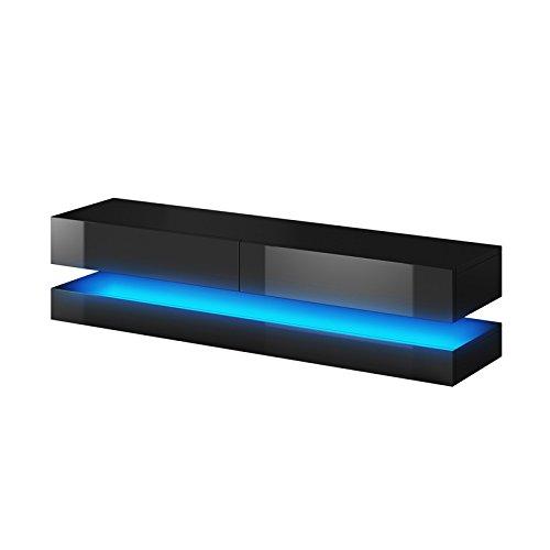 Aviator – TV-Board in Schwebeoptik/TV-Hängeschrank/Fernsehschrank (140 cm, schwarz matt/schwarz Hochglanz mit LED blau)