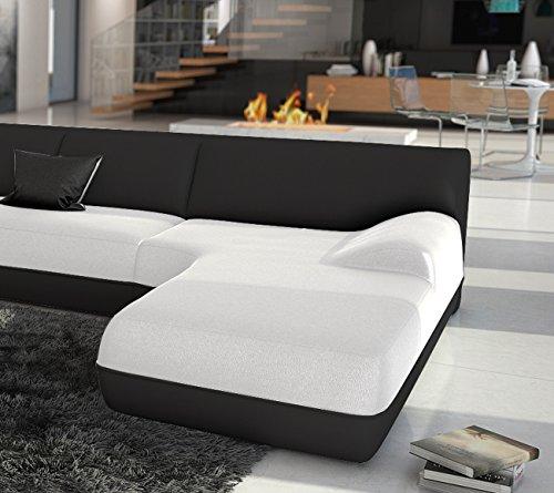SAM® Wohnlandschaft IMPULSO weiß schwarz in U - Form 220 x 385 x 220 cm designed by Ricardo Paolo® pflegeleichte Oberfläche
