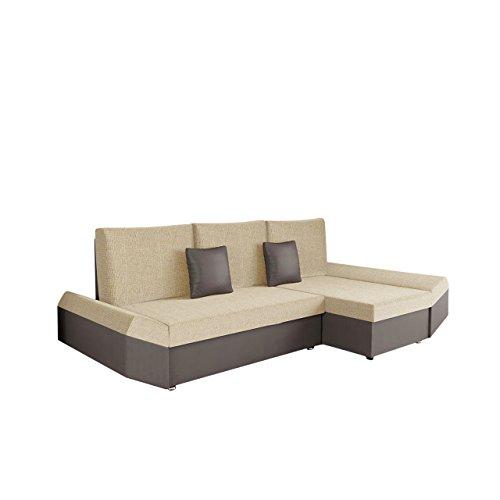 Mirjan24  OUTLET ! Ecksofa Moric Eckcouch Sofa mit Schlaffunktion und Bettkasten! Ottomane Universal, inkl. Kissen Couch, Schlafsofa Bettsofa vom Hersteller (Soft 024 + Valencia 205)
