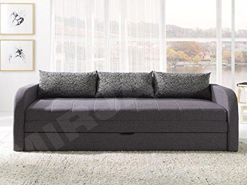Mirjan24  Schlafsofa Rafael B, Sofa Couch mit Bettkasten und Schlaffunktion, Bettsofa Kissenmuster, Schlafcouch, Gästebett Schlafzimmer (Lux 06 + Komodo 04)