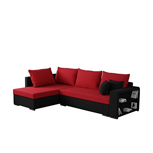 Mirjan24  Ecksofa Clovis, Moderne Eckcouch mit Schlaffunktion und Bettkasten, Ottomane Universal, Couch L-Form, Farbauswahl, Wohnlandschaft (Porto 36 + Haiti 18)
