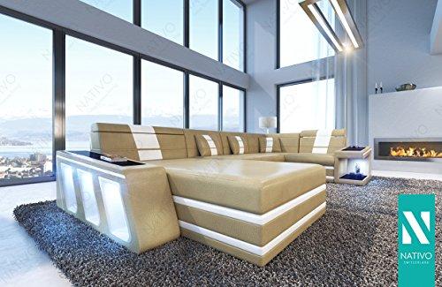 DESIGNER SOFA Wohnlandschaft CAREZZA XL MIT LED BELEUCHTUNG NATIVO© XL Megasofa Riesensofa Wohnlandschaft Ultrasofa