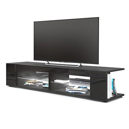 TV Board Lowboard Movie, Korpus in Schwarz matt / Fronten in Schwarz Hochglanz inkl. LED Beleuchtung in Weiß