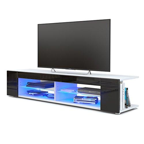 TV Board Lowboard Movie, Korpus in Weiß matt / Fronten in Schwarz Hochglanz inkl. LED Beleuchtung in Blau