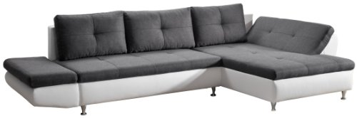 Cavadore 457 Polsterecke Coutre, 2er-Longchair, 325 x 89 x 186 cm, Toscna graphite-Bison pure white