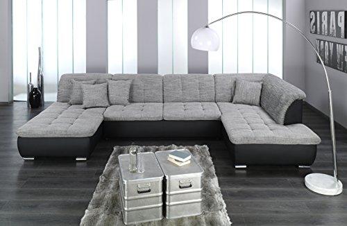 Wohnlandschaft, Couchgarnitur XXL Sofa, U-Form, schwarz/grau, Ottomane rechts