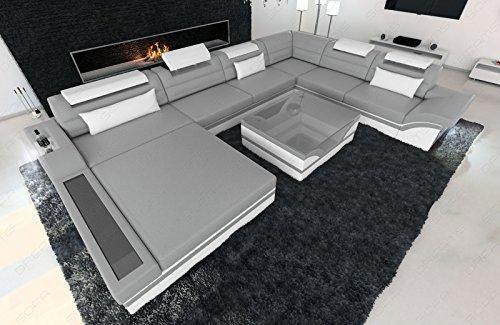 Designer Wohnlandschaft Mezzo XXL mit LED grau - weiss