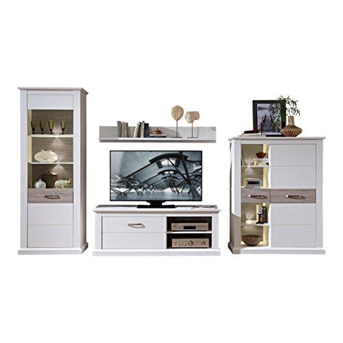 Stella Trading TV-Wohnlösung LED-Beleuchtung, Pinie hell Landhaus Wohnprogramm Wohnwand Set 4-teilig, Holz, weiß, 363.00 x 52.00 x 208.00 cm