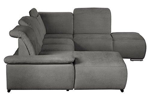 Cavadore Wohnlandschaft Tabagos / U-Form mit Ottomane rechts / XXL Couch mit Sitztiefenverstellung / Kopfteilverstellung / Armteilverstellung / 364 x 85-96 x 248 (B x H x T) / Farbe: Fango (grau)