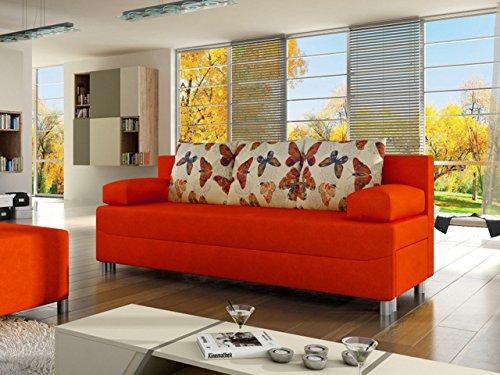 Mirjan24  OUTLET !! Schlafsofa Dover, Bettsofa, Sofa mit Bettkasten und Schlaffunktion, Couchgarnitur, Schlafcouch mit Chromfüße, Couch vom Hersteller (Alova 43 + Butterfly 05, ohne Polsterhocker)