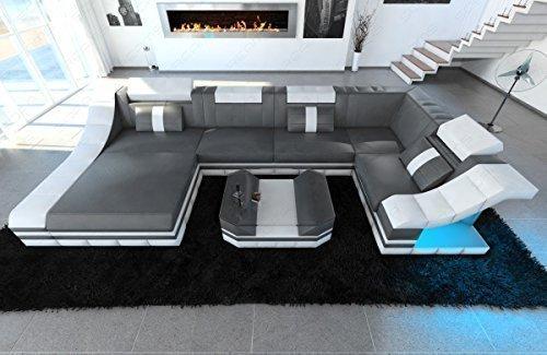 Moderne Wohnlandschaft Turino U-Form mit LED Beleuchtung