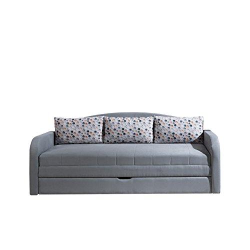 Mirjan24  Schlafsofa Tenus II, Sofa Couch mit Bettkasten und Schlaffunktion, Kissenmuster, Bettsofa Schlafcouch, Gästebett Schlafzimmer (Alcala 22 + Punto 09)