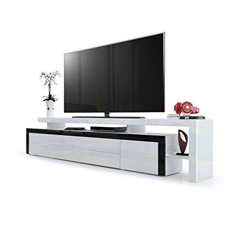TV Board Lowboard Leon V3, Korpus und Überbau in Weiß Hochglanz / Front in Weiß Hochglanz mit Rahmen in Schwarz Hochglanz