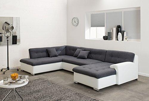 ARBD Wohnlandschaft, Couchgarnitur U-Form, ROCKY mit Schlaffunktion 325 x 205cm weiß/grau, Ottomane links