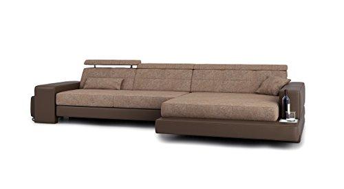 Eckcouch L-Form braun Stoffsofa Couch Leder Wohnlandschaft modern Ecksofa Designersofa mit LED-Licht Beleuchtung IMOLA III