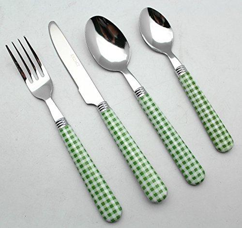 EXZACT Color Edelstahl-Besteck Set 16 Stück - 4 x Tafelgabeln, 4 x Messer, 4 x Abendessen Löffel, 4 x Teelöffel