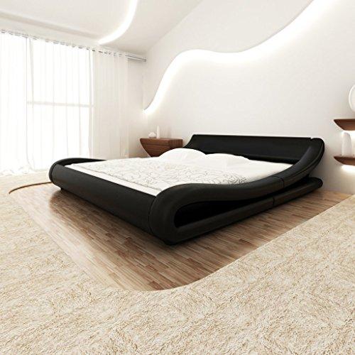 Festnight Bett Kunstlederbett Bettrahmen Doppelbett Schlafzimmerbett mit 140x200cm Memory-Matratze Curl Schwarz