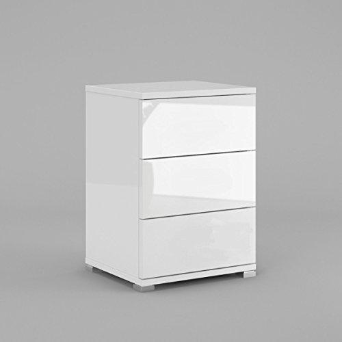 HGL Möbel Nachtkonsole N3 mit 3 Schubladen Weiß Hochglanz Push to Open