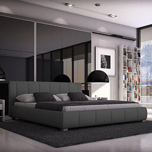luna polsterbett 140x200 cm doppelbett bett designerbett kunstleder grau g nstig online. Black Bedroom Furniture Sets. Home Design Ideas