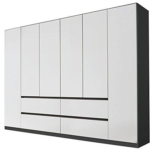 Rauch AA029.4324 Kleiderschrank Mainz 6-türig, griffloses Design / B 271 H 210 T 54 cm / Korpus: Grau-Metallic, Fronten: Alpinweiss