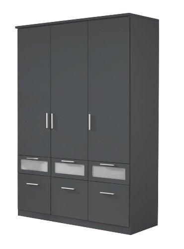 Rauch Kleiderschrank 3-türig mit Schubladen Grau Metallic Nachbildung, BxHxT 136x199x56 cm