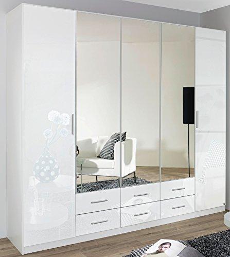 Rauch Kleiderschrank 5-türig, 3 Spiegeltüren, 6 Schubkästen, Hochglanz weiß