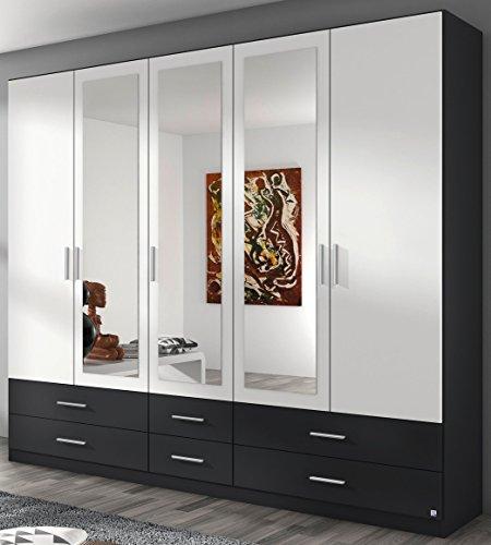 Rauch Kleiderschrank 5-türig, 3 Spiegeltüren, 6 Schubkästen, grau metallic-alpinweiß