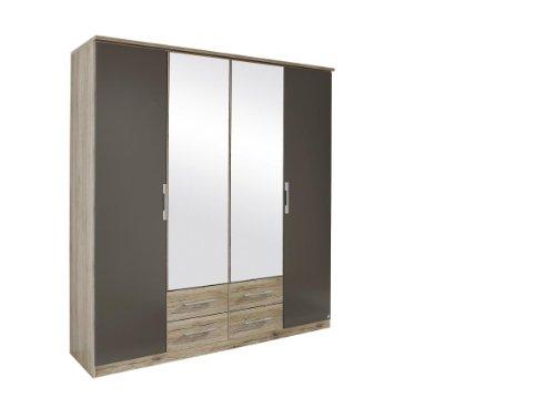 Rauch Kleiderschrank mit Spiegel und Schubladen 4-türig, Eiche San Remo hell, Absetzungen Lavagrau, BxHxT 181x199x56 cm