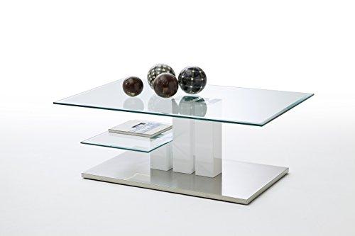 Robas Lund Couchtisch, Wohnzimmertisch, Nils, Hochglanz/Weiß, 110 x 70 x 40 cm, 58625W14