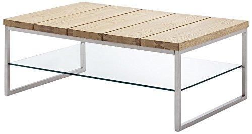 Robas Lund Couchtisch, Wohnzimmertisch, Norge, Asteiche/Glas/Metall in Edelstahloptik, 60 x 100 x 39 cm, 58794AZ4