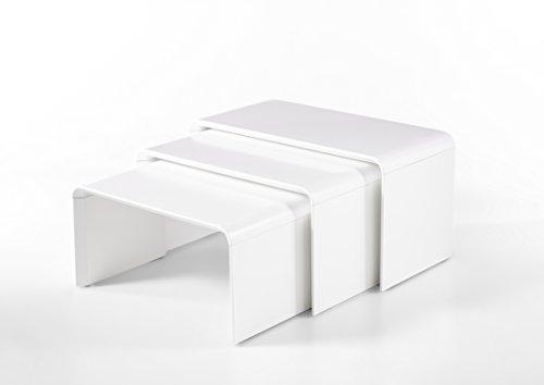 Robas Lund Couchtisch, Wohnzimmertisch, Phil, 3-teilig, matt weiß, 58190MW44