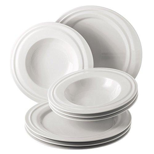 Rosenthal 10525-800001-28516 Nendoo Tafelset 8-teilig bestehend, 4 Stück (Speiseteller 28 cm, Suppenteller 24 cm), weiß