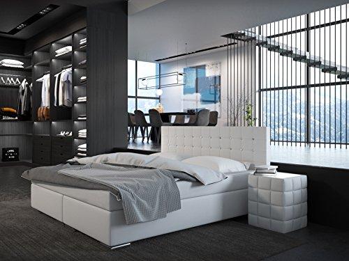 SAM® Design Boxspringbett Bristol, mit Ziersteinen, Kunstlederbezug in Weiß, Bonellfederkern-Matratze & Nosag-Unterfederung, Doppelbett mit bequemer Einstiegshöhe, 180 x 200 cm