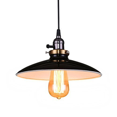 Unimall Vintage Industrial Pendant Light Shade Metal Black Retro Ceiling Light Restaurant Loft Coffee Bar Kitchen Pendant Lamp Chandelier Shade E32 Base
