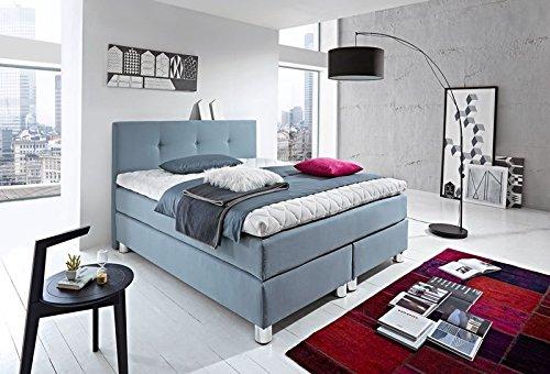 WELCON Luxus Boxspringbett ROCKSTAR 9cm Premium Topper und Design Kopfteil 140x200 64 Farben erhältlich H1, H2, H3, H4, H5 (rechts und links beliebig kombinierbar) Bett Doppelbett Polsterbett