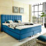 boxspringbettenshop24.de - Rockstar Boxspring Bett von WELCON - Luxus Boxspringbett 180x200cm Härtegrad H3 in blau inkl. Topper - durchgehende Matratze mit über 1000 Federn - Bettgestell aus Massivholz Schichten