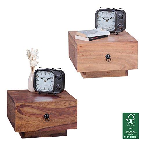 FineBuy Nachttisch Massiv-Holz Design Nacht-Kommode 25 cm hoch mit Schublade Nachtschrank modern Natur-Holz 40x40 cm