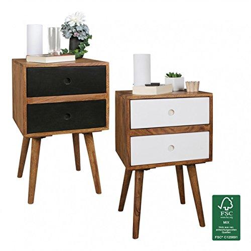 FineBuy Retro Nachtkonsole Sheesham-Holz Nachttisch mit 2 Schubladen dunkelbraun | Design Nachtkästchen 40 x 35 x 55 cm | Kleines Nachtschränkchen