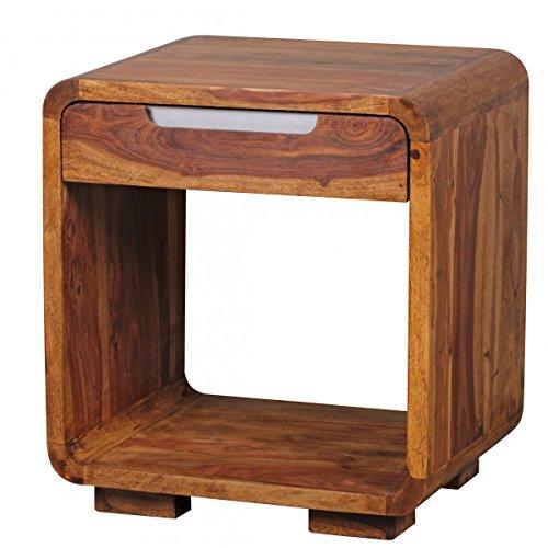 Nachttisch, Kommode mit Schublade aus Sheesham Massivholz; Maße (B/T/H) in cm: 50 x 40 x 55
