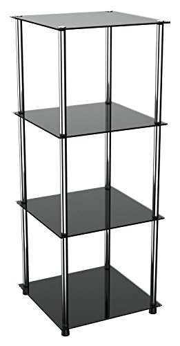 RICOO Standregal Modular WM503-B Design Modern Bücherregal Organizer/Regal Rahmen Glas Schwarz Nicht Transparent Durchsichtig